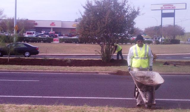 Rodney Ahart transporting the mulch