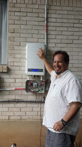 Selwyn Polit posing with his inverter